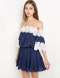Pixie Market Navy Crochet Off The Shoulder Dress