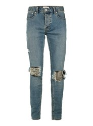 Topman Light Wash Blue Extreme Ripped Stretch Skinny Jeans