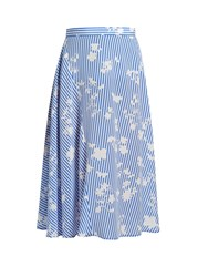 Altuzarra Sundew Stripe Print Fluted Midi Skirt Blue White