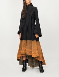 Aganovich Tulle Collar Linen Midi Dress Black