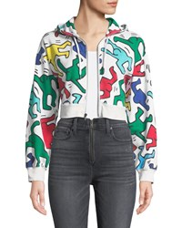 Alice Olivia Keith Haring X Barron Cropped Wide Sleeve Zip Up Hoodie White Pattern