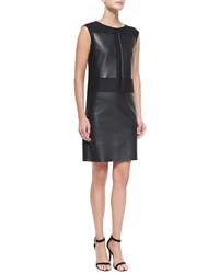 Agnona Leather And Wool Silk Combo Sheath Dress Women's