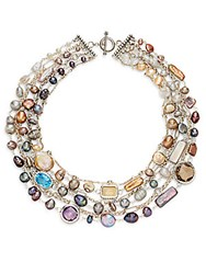 Stephen Dweck Toledo Cultured Pearl Amethyst Blue Topaz Smoky Quartz And Sterling Silver Multi Strand Necklace