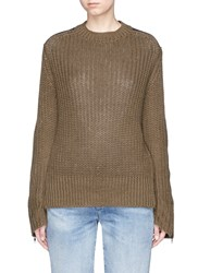 Bassike Twill Patch Chunky Rib Knit Military Sweater Green