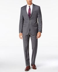 Dkny Men's Slim Fit Gray Mini Check Suit Grey