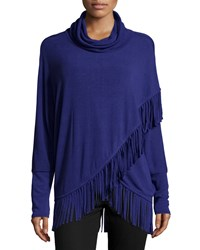 Chelsea And Theodore Cowl Neck Fringe Trim Wrap Sweater Concord Cr