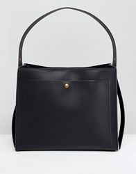 Asos Design Clean Single Strap Tote With Old Gold Metal Work Black