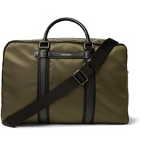Dolce And Gabbana Mediterraneo Leather Trimmed Canvas Holdall Army Green