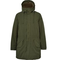 Aspesi Faux Shearling Lined Brushed Shell Hooded Parka Army Green