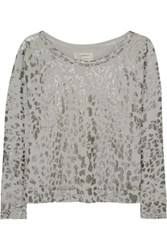 Current Elliott The Letterman Printed Cotton Sweatshirt Leopard Print
