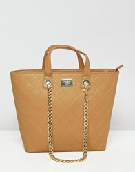 Marc B Shopper With Grab Handle And Chain Shoulder Strap Tan