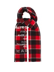 Acne Studios Cassiar Logo Print Checked Wool Scarf Red