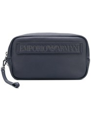 Emporio Armani Embossed Logo Wash Bag Blue
