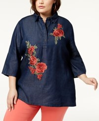 Say What Trendy Plus Size Cotton Embroidered Denim Top Dark Chambray