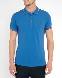 Diesel Royal Blue T Skin Polo Shirt With Two Tone Red Blue Collar Trim