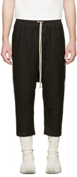 Rick Owens Black Mesh Drawstring Cropped Trousers