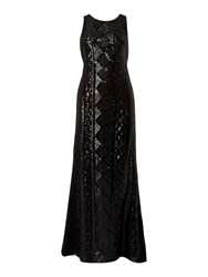 Ariella Sleeveless Beaded Front Gown Black