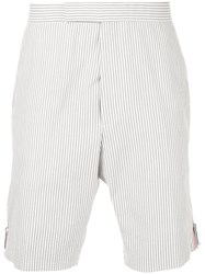 Thom Browne Seersucker Striped Shorts Grey