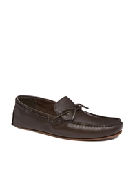 Asos Loafers In Leather Brown
