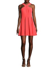 Cynthia Steffe Eden Pleated Fit And Flare Dress Coral