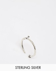 Unif Helter Skelter White Bronze Nail Ring Silver