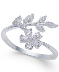 Inc International Concepts Silver Tone Crystal Flower And Leaf Ring Only At Macy's
