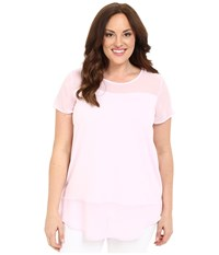Vince Camuto Plus Size Short Sleeve Mixed Media Top W Chiffon Yoke Sugar Petal Women's Blouse Pink