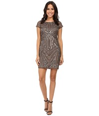 Adrianna Papell Short Sleeve Fully Beaded Sheath Lead Women's Dress Gray