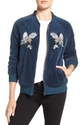 Pam And Gela Embroidered Velour Track Jacket Blue