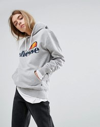 Ellesse Boyfriend Hoodie With Chest Logo Grey