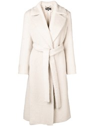 Salvatore Ferragamo Double Breasted Belted Coat Nude And Neutrals