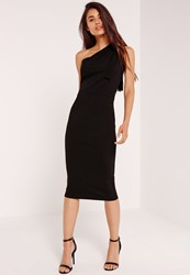 Missguided One Shoulder Bodycon Midi Dress Black Black