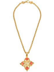 Chanel Vintage Cc Logo Stone Pendant Necklace Metallic