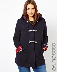 Asos Curve Duffle Coat With Check Lining Navy