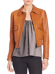 Helmut Lang Cropped Leather Jacket Cognac