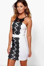 Boohoo Lace Panel Front Bodycon Dress Ivory