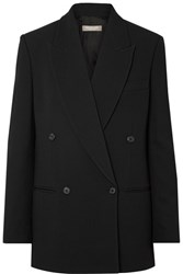 Michael Kors Collection Oversized Double Breasted Crepe Blazer Black Gbp