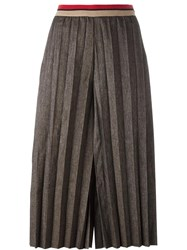 Aviu Pleated Front Cropped Trousers Brown