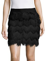 Max Studio Chevron Patterned Fringe Skirt Black