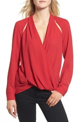 Trouve Women's Cutout Surplice Top Red Chili