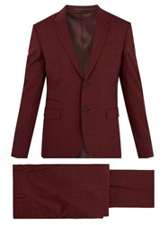 Valentino Notch Lapel Gingham Wool Blend Suit Red