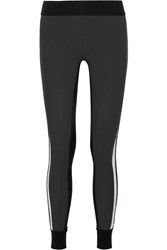 No Ka' Oi Ka'oi Kuna Velvet Trimmed Color Block Stretch Leggings Charcoal