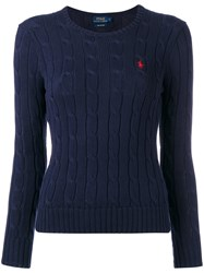 Polo Ralph Lauren Logo Cable Knit Sweater Blue