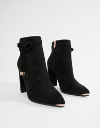5f138dde6 Ted Baker Black Suede Heeled Ankle Boots With Bow