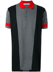 Givenchy Star Print Paneled Polo Shirt Grey