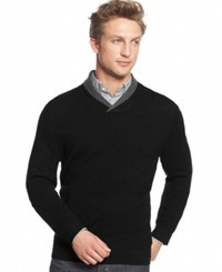 Club Room Merino Wool Double Shawl Collar Sweater Only At Macy's Deep Black