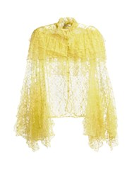 Rodarte Ruffle Trimmed High Neck Floral Lace Blouse Yellow