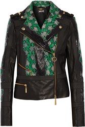 Just Cavalli Snake Effect And Perforated Leather Jacket Black
