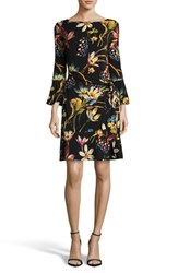 Eci Faux Wrap Dress Black Multi