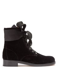 Chloe Harper Lace Up Velvet Ankle Boots Black